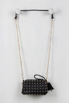 Studded Chain Link Tassel Mini Bag