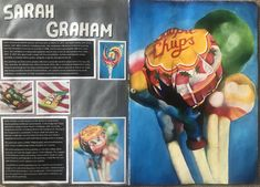 A Level Art Sketchbook Layout, Gcse Art Sketchbook, Sketchbook Ideas, Sarah Graham Artist, A Level Art Themes, Artist Research Page, Sweets Art, Prismacolor, Art Analysis