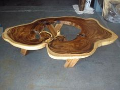 Large Organic Exceptional Acacia Wood Coffee Table  Large Exceptional Acacia Tree Slab Slice