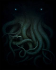 Jeremy Enecio.    Cthulu. Acrylic on paper, 11 x 14.  Poster art for the H.P. Lovecraft tribute show at Gallery Nucleus.