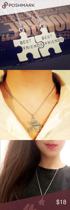 Best friends friendship puzzle matching necklace Comes in a set of 2 necklaces (one for you and one for a friend). Color: silver. Material: Alloy. Super cute necklaces, NEW. Jewelry Necklaces