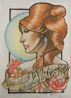 Sharon Tate Fearless Vampire Killers Neo traditional flash art by Gypsy Firecracker