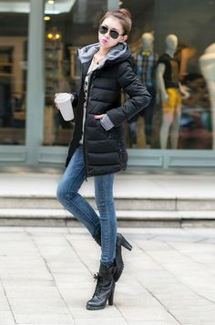 Autumn Winter Women Padded Parka Hooded Coat Zipper Pockets Long Slim Jacket Warm Outerwear Black s black Online Shopping Weather Wear, Cold Weather, Casual Fall Outfits, Winter Outfits, Nyc Christmas, Denim Skinny Jeans, Winter Time, Street Chic, Casual Chic
