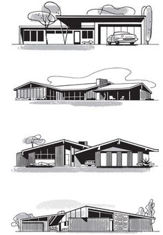 Mid-century homes Mid Century Ranch, Mid Century House, Mid Century Modern Design, Modern House Design, Modern Houses, Contemporary Houses, Contemporary Architecture, Retro Vintage, Architecture Sketches