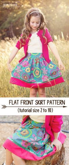 Free Flat Front skirt patterns for girls. Size 2 to 10.