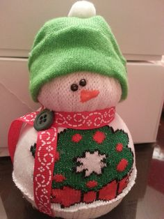 Green and Red Sock Rice Snowman. $10.00, via Etsy.