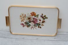 Floral Tea Tray, Lap Tray with Flowers by TheVintageTeaShoppe on Etsy Lap Tray, Vintage Tea, Trays, Metal, Floral, Flowers, Metals, Royal Icing Flowers, Flower