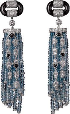 CARTIER platinum, aquamarine beads, onyx, diamonds.