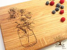 Personalized Wedding Gift, Custom Cutting Board, Mason Jar With Flowers Design, Anniversary Gift, Bridal Shower Gift, Housewarming Gift