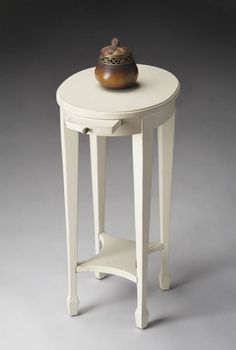 Masterpiece Arielle Transitional Cottage White Accent Table