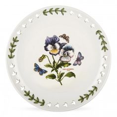 Portmeirion Botanic Garden 8.5 inch Pierced Plate Pansy S/4 - Portmeirion USA