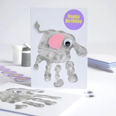 Make Five Handprint Elephant Cards Kit, I could do this