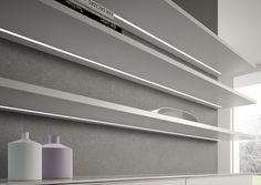 DOMUS Line's String installed in shelving. Recessed type diffuser profile, easily cut to length and also great for installation in cupboards.