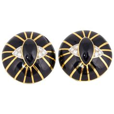 1960's Gold, Black Enamel & Diamond SpiderWeb Design Circular Earclips 1