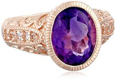 ROSE GOLD PLATED STERLING SILVER AFRICAN AMETHYST AND WHITE TOPAZ FILIGREE SOLITAIRE RING, SIZE 7