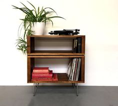 Stacked Sideboard Console Storage Unit, ideal for vinyl records, books and cocktails, Wide Solid Wood on Mid Century Hairpin Legs Record Table, Record Shelf, Vinyl Record Storage, Cd Stand, Diy Tv Stand, Console Storage, Lp Storage, Pallet Furniture, Vintage Furniture