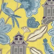 Duralee 42209-542   Blue/Yellow   Asian Floral with Birds Linen Drapery Fabric