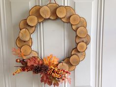 "14"" wood disc wreath"