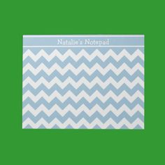 Custom Notepad or Jotter, Blue and White Chevrons