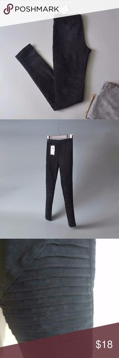Leggings- faux Suede (new with Tags) Black Faux Suede Leggings. Ankle-length Motto syle with a high waist. Size small/medium runs small. wonderful for the cool autumn nights. New with tags. Pants Leggings
