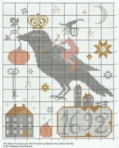 ru / Фото - The Witch, The Crow and the Pumpkin - dentilla Cross Stitch Sampler Patterns, Cross Stitch Freebies, Cross Stitch Samplers, Cross Stitch Charts, Cross Stitch Designs, Cross Stitching, Cross Stitch Embroidery, Embroidery Patterns, Fall Cross Stitch