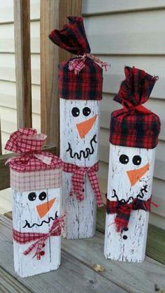 DIY wooden block snow family!