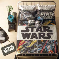 Jogo de cama, almofadas e tapete de Star Wars. Decoração geek/nerd