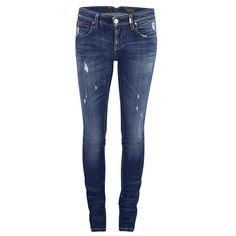 ONLY Women's Mercury Low Rise Skinny Jeans - Medium Blue Denim ($115) ❤ liked on Polyvore featuring jeans, blue, skinny leg jeans, destroyed jeans, super skinny jeans, distressed jeans and distressed denim jeans