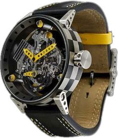 B.R.M. Watches R-50-TN Yellow Hands #bezel-fixed #bracelet-strap-leather…