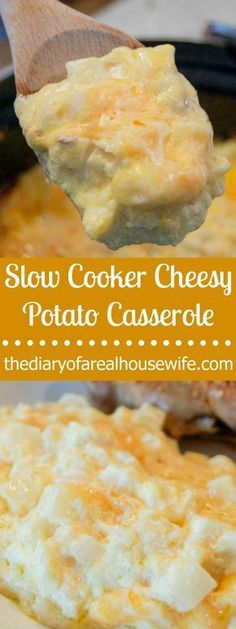 So yummy Slow Cooker Cheesy Potato Casserole.My favorite side dish recipe. So yummy Slow Cooker Cheesy Potato Casserole. Cheesy Potato Casserole, Potatoe Casserole Recipes, Potato Caserole, Cheesy Potatoes With Hashbrowns, Potato Hash, Chicken Casserole, Sweet Potato, Healthy Potato Recipes, Fun Easy Recipes