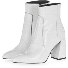Topshop Hawk Croc Boots (6.445 RUB) ❤ liked on Polyvore featuring shoes, boots, ankle booties, leather booties, ankle boots, pointy-toe ankle boots, high heel ankle boots and white booties