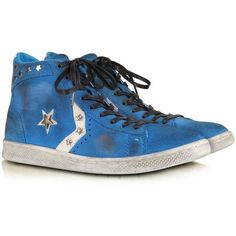 Converse Limited Edition Shoes Riviera Blu Suede Pro Leather Mid... (165 AUD) ❤ liked on Polyvore featuring shoes, sneakers, converse, girls, blue, suede shoes, leather trainers, distressed leather shoes, distressed shoes and blue shoes