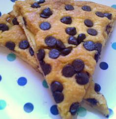 Chocolate Chip Dessert Pizza :)  just pizza crust, cake mix and choc chips! If this tastes like the one from Pizza Buffet in Anderson I'm gonna be so happy!!