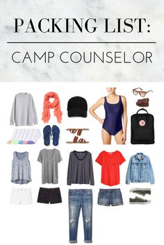 Camp counselor packing list: What to pack if you're a summer camp counselor. Capsule wardrobe includes: Sweatshirt, Socks, Scarf, Flip Flops, Baseball Cap, Sandals, Swimsuit, Sunglasses, Belt, Backpack, Tank, White Denim Shorts, Gray T-Shirt, Black Chino Shorts, Long-Sleeved T-Shirt, Jeans, Red T-Shirt, Blue Denim Shorts, Denim Jacket, Sneakers