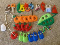 The Very Hungry Caterpillar Felt Food Set (diy? Felt Diy, Felt Crafts, Crafts For Kids, Sewing Projects, Craft Projects, Felt Play Food, Felt Stories, Felt Quiet Books, Homemade Toys