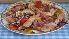 Eén - Dagelijkse kost - gegrilde gamba's en groenten met gemengde sla