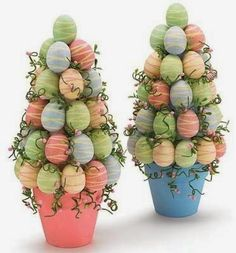 Easy DIY Potted Foam Egg Topiary Tree Easter craft idea for kids. The Best Easy DIY Dollar Store Easter Decoration Ideas. Hoppy Easter, Easter Eggs, Easter Bunny, Spring Crafts, Holiday Crafts, Oster Dekor, Diy Osterschmuck, Easy Diy, Diy Easter Decorations