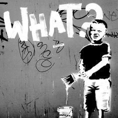 €20 Banksy LEINWAND BANKSY BOY (ab)20x20cm KUNSTDRUCK - ein Designerstück von STREET-HEART bei DaWanda