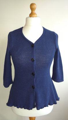 Linen cardigan, blue, women blazer, cotton jersey, shrug, cover up, knit top, knit jacket, eco linen clothing, sweater, HandmadeGallery Etsy