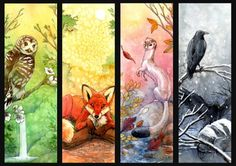 'Four Seasons' by hibbary (Hillary Luetkemeyer) on deviantART -- watercolor bookmarks Four Seasons Painting, Four Seasons Art, Watercolor Bookmarks, Art Series, Mythical Creatures, Art Education, Art Images, Fantasy Art, Art Projects