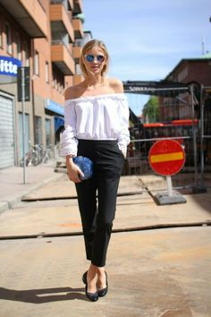 Wearing Uniqlo pants, Unisa shoes, Asos bag, Aldo sunglasses, and a vintage top | off the shoulder blouse | pops of cobalt | classy spring outfit