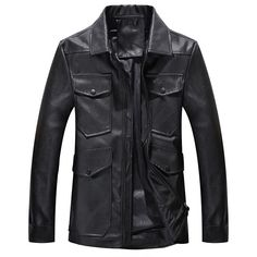 Sale 16% (55.35$) - Mens PU Leather Fashion Casual Turn-down Collar Motorcycle Jacket Autumn Black Coat