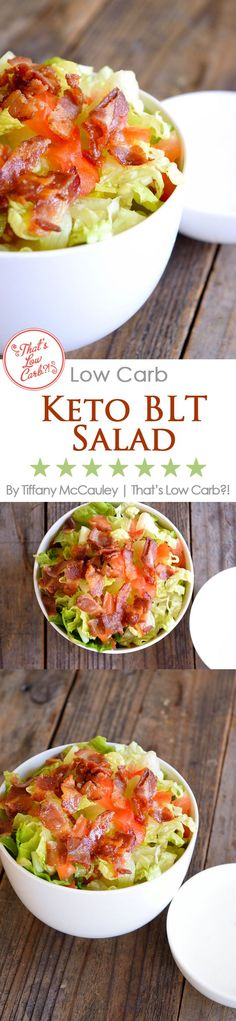 Low Carb Recipes | BLT Salad Recipe | Salad Recipes | Low Carb Salads | Recipes | Lunch Recipes ~ http://www.thatslowcarb.com