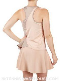 Back of nude adidas Women's Stella McCartney Barricade NY Dress - edgy and feminine at the same time http://www.womenstennisblog.com/2014/06/19/stella-mccartney-returns-ruffles-neutral-colors-collection-wimbledonus-open-2014/