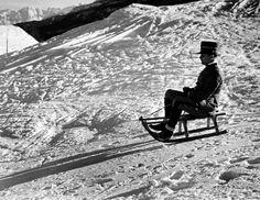 Alfred Eisenstaedt - Italian officer enjoying sled ride in Sestrieres, Italian Alps., 1934