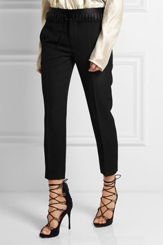 Haider Ackermann | Lace-up satin-trimmed wool slim-leg pants | NET-A-PORTER.COM