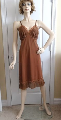 1960s Vintage Luxite Full Slip or Petticoat in Chocolate Brown with Lace & Pleat Detail, Size 36, Nylon, Adjustable Straps, Vintage Lingerie by VictorianWardrobe on Etsy