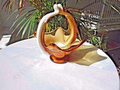 Art Glass Applied Milk Glass & Amber Hand Made Centerpiece Bowl Basket