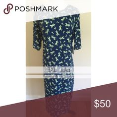 LuLaRoe Julia - *MAJOR UNICORN* 3XL - smaller girls, make this work! This piece is a hot one. Navy blue background and lime green unicorns! LuLaRoe Dresses