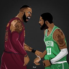 King vs Kyrie, Round we go fans, let the season begin! Basketball Drawings, Basketball History, Basketball Posters, Basketball Art, Basketball Legends, Basketball Pictures, College Basketball, Nba Sports, Sports Art
